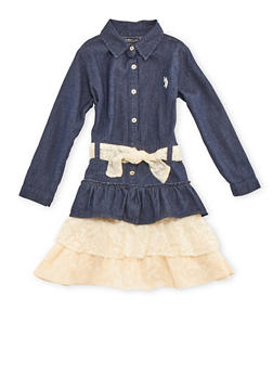 Girls 4-6x Denim Shirt Dress with Tiered Lace Hem - 3614073480003