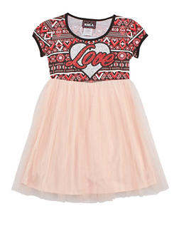 Girls 7-14 Love Mesh Dress - 3615021280011