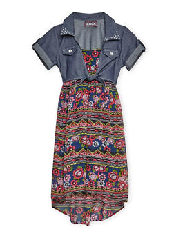 Girls 7-16 Chambray Tie Front Printed Dress - 3615021280014