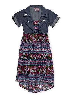 Girls 7-16 Chambray Tie Front Printed Dress - 3615021280015