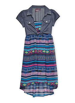 Girls 7-16 Chambray Tie Front Printed Dress - 3615021280016