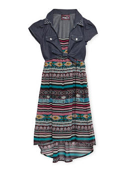 Girls 7-16 Chambray Tie Front Printed Dress - 3615021280017