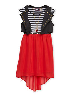 Girls 7-16 Striped Skater Dress with Knit Vest - 3615021280020