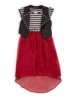 Girls 7-16 Striped Tank Dress with Knitted Vest - 3615021280021