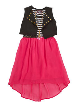 Girls 7-16 Striped Skater Dress with Knit Vest - 3615021280023