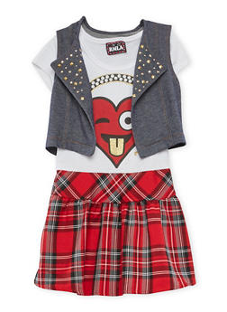 Girls 7-16 Heart Graphic Plaid Dress with Vest - 3615021280025