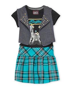 Girls 7-16 Besties Graphic Plaid Dress with Vest - 3615021280026