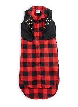 Girls 7-16 Sleeveless Plaid Dress with Vest Overlay - 3615021280029