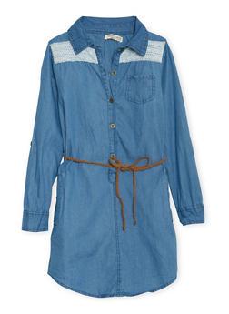 Girls 7-16 Belted Denim Shirt Dress with Crochet Panels - 3615023130003