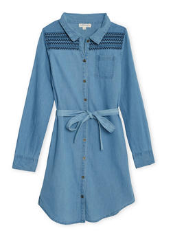 Girls 7-16 Chambray Shirt Dress with Embroidered Shoulders - 3615023130005