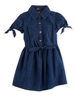 Girls 7-16 Denim Dress with Fixed Ties - 3615038340002