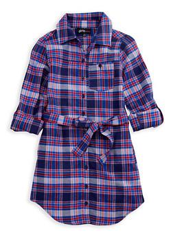 Girls 7-16 Plaid Dress with Tie Belt - 3615038340005