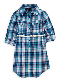 Girls 7-16 Belted Button Front Plaid Dress - 3615038340006