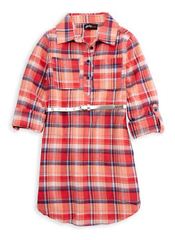 Girls 7-16 Belted Plaid Shirt Dress - 3615038340007