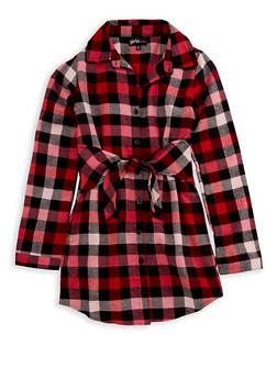 Girls 7-16 Plaid Button Tie Front Dress - 3615038340008