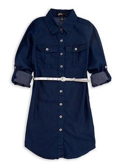Girls 7-16 Denim Belted Shirt Dress - 3615038340009
