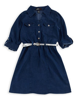 Girls 7-16 Denim Belted Dress - 3615038340010
