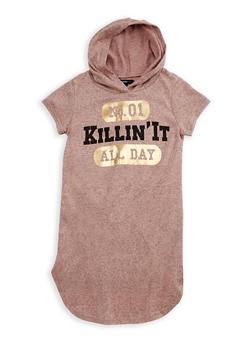 Girls 7-16 Killin It Graphic Hooded Dress - 3615038340018