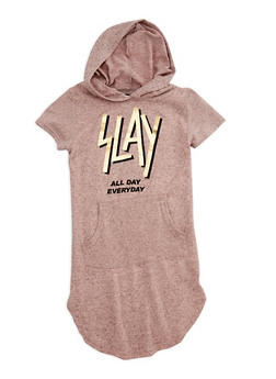 Girls 7-16 Slay Graphic Hooded Dress - 3615038340019