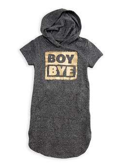 Girls 7-16 Boy Bye Graphic Hooded Dress - 3615038340020