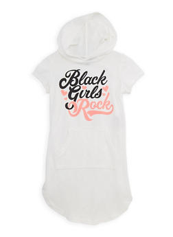 Girls 7-16 Black Girls Rock Graphic Hooded Dress - 3615038340023