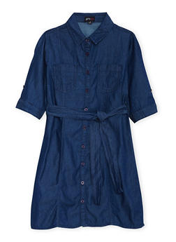 Girls 7-16 Chambray Shirt Dress with Waist Tie Cinch - 3615051060001