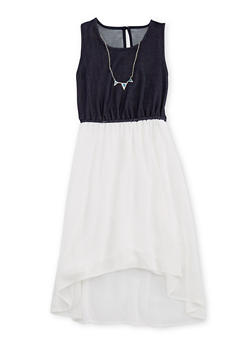 Girls 7-16 Chiffon Denim Knit Dress with Necklace - 3615051060003