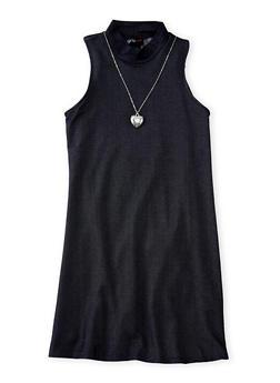 Girls 7-16 Denim Knit Dress with Necklace - DARK WASH - 3615051060005