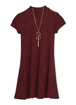 Girls 7-16 Ribbed Knit Marled Sweater Dress - 3615051060007