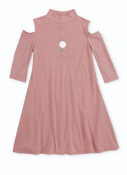 Girls 7-16 Cold Shoulder Rib Knit T Shirt Dress - 3615051060010