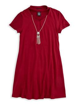 Girls 7-16 Choker T Shirt Dress with Necklace - 3615051060013
