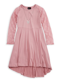 Girls 7-16 Lace Sleeve Dress with Detachable Necklace - 3615051060015