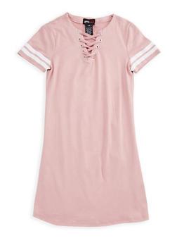 Girls 7-16 Lace Up Dress with Varsity Stripes - 3615051060016
