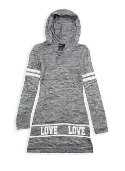 Girls 7-16 Marled Graphic Dress with Hood - 3615051060019
