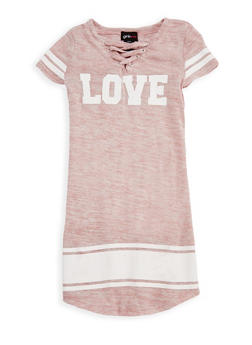 Girls 7-16 Marled Love Graphic Lace Up Dress - 3615051060020