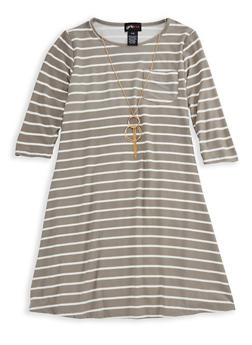 Girls 7-16 Long Sleeve Striped Dress with Detachable Necklace - 3615051060021