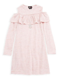 Girls 7-16 Ruffled Long Sleeve Dress with Necklace - 3615051060023