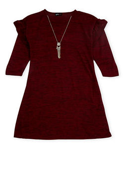 Girls 7-16 Marled Dress with Necklace - 3615051060024