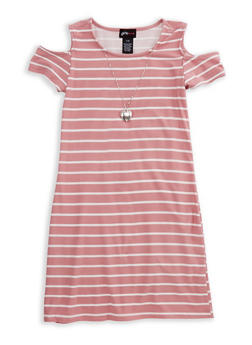 Girls 7-16 Cold Shoulder Striped Dress with Detachable Necklace - 3615051060025