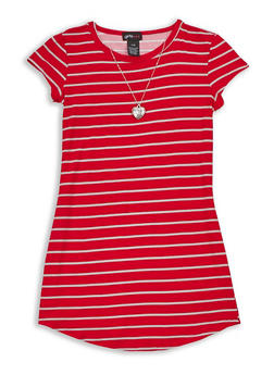 Girls 7-16 Short Sleeve Striped Dress with Detachable Necklace - 3615051060026