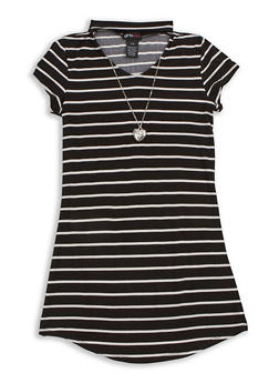 Girls 7-16 Short Sleeve Striped Dress with Detachable Necklace - 3615051060027
