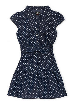 Girls 7-16 Chambray Dress with Heart Print - 3615054730003
