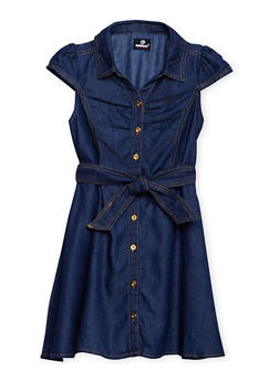 Girls 7-16 Belted Denim Shirt Dress - 3615054730005