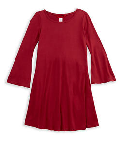 Girls 7-16 Soft Knit Skater Dress with Bell Sleeves - 3615060580005