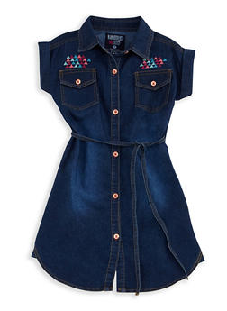 Girls 7-16 Limited Too Embroidered Denim Shirt Dress - 3615060990001