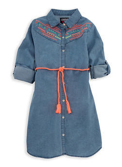 Girls 7-16 Limited Too Embroidered Denim Shirt Dress - 3615060990002