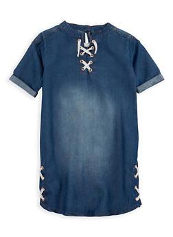 Girls 7-16 Kensie Lace Up Denim Dress - 3615060990004
