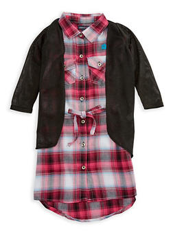 Girls 4-16 Limited Too Plaid Dress with Cardigan Set - 3615060990005