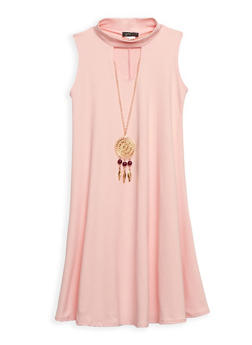 Girls 7-16 Solid Tank Dress with Necklace - 3615066590007