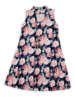 Girls 7-16 Sleeveless Floral Dress with Detachable Necklace - 3615066590030